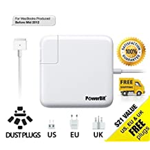 PowerBit Macbook Pro / Air - Charger / Power Adapter / Supply / Cord - 85w / 60w / 45w AC - MagSafe - T Style Tip - Gift: Dust Plugs, US, UK, EU Plugs - for 17 / 15 / 13 / 11 in. (inch) Laptops