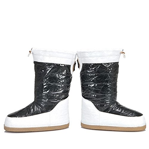 5 Heels Toe Round Frosted M Low Color Fabric Closed Boots B AmoonyFashionWomens US Assorted Platform with Black xqHwBISEBO