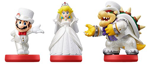 triple pack mario peach and bowser wedding outfits amiibo super
