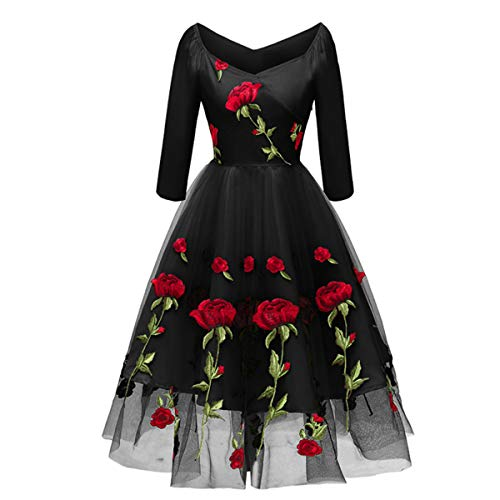 Women Vintage 1950s Embroidered Rose Cocktail Party Swing Dress Gatsby Princess Retro Valentine's Day Evening Midi Skirt Gown Black - Long Sleeve L