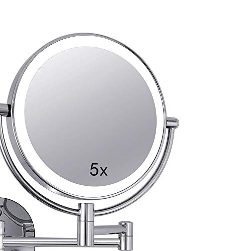WUDHAO Wall-Mounted Vanity Mirrors Wall-Mounted LED 8 Inch Fill Light Makeup Mirror Double-Sided 5X Magnifying Mirror Lighted Makeup Mirror (Color : Silver, Size : 8 inches ()