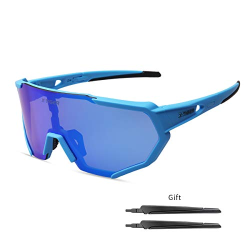 X-TIGER Polarized Sports Sunglasses with 3 Interchangeable Lenses,Mens Womens Cycling Glasses UV400 Protection,Running Fishing Driving Sunglasses (Blue and ()