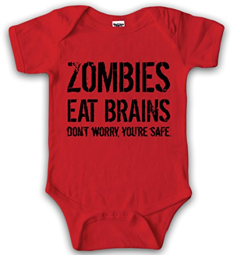 Baby Bodysuit Zombies Eat Brains Youre Safe Halloween Creeper for Infants (Red) 3-6 (Suit Zombie)