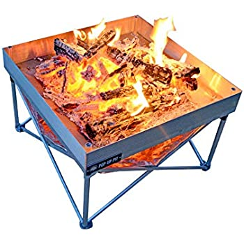 Campfire Defender Protect Preserve Pop-Up Fire Pit - Portable 24x24 8lbs. Never Rust Fire Pit - Burns with 80% Less Smoke - Heat Shield Added for Leave No Trace Fires (Pop-Up Pit + Heat Shield)