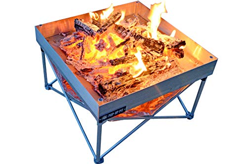 Campfire Defender Protect Preserve Pop-Up Fire Pit – Portable 24 x24 8lbs. Never Rust Fire Pit – Burns with 80 Less Smoke – Heat Shield Added for Leave No Trace Fires