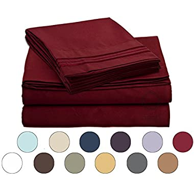 Bed Sheet Bedding Set, 100% Soft Brushed Microfiber with Deep Pocket Fitted Sheet - CAL KING - BURGUNDY RED - 1800 Luxury Bedding Collection, Hypoallergenic & Wrinkle Free Bedroom Linen Set
