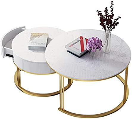 Ritlr mesa de café- 32 pulgadas mármol Sofá Café Juego de mesa con cajones invisibles grandes, Marco Redondo Liso minimalista de acero al carbono Sofá Tabla lateral for la decoración casera moderna