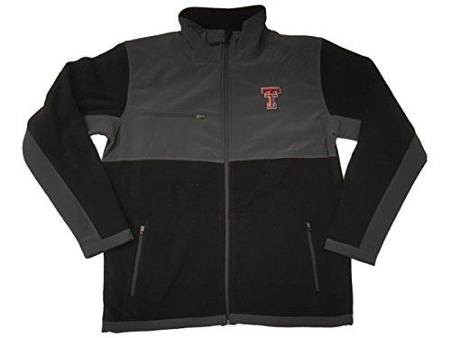 テキサスTechレッドRaidersコロシアムチャコールグレー&ブラックフルZip LSジャケット( L )