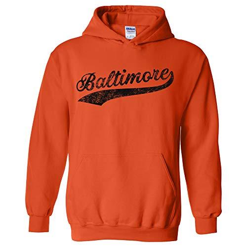 UGP Campus Apparel Baltimore Baseball Script - Hometown Pride, Pitcher Hoodie - Medium - Orange Baltimore Orioles Mens Hooded Sweatshirt