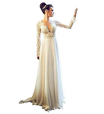 LISA.MOON Women's V Neck Long Sleeve Backless Appliqued Chiffon Wedding Dress
