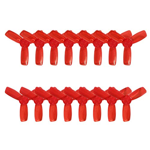 RAYCorp 2345 3-Blades (2.3x4.5x3) Propellers. 16 Pieces(8CW, 8CCW) Clear Red - Polycarbonate 2.3-inch Tri Blades Micro Quadcopters & Multirotors Props + Battery Strap