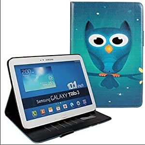 GJY Fashion Owl Print PU Leather Full Body Case with Strap and Sticker for Samsung Galaxy Tab 3 10.1 P5200 , White