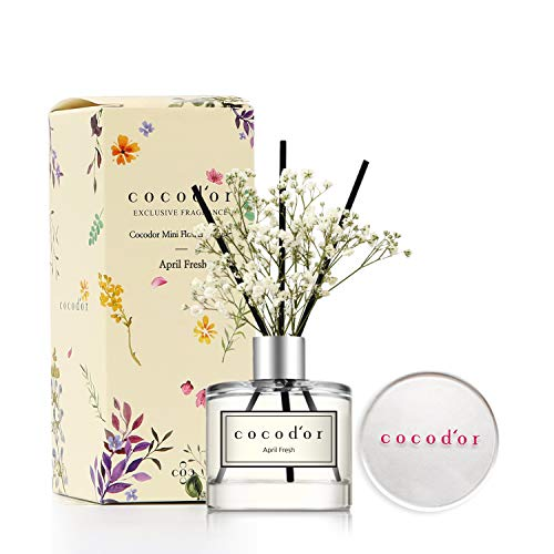 Cocod'or Mini Flower Home & Car Diffuser/April Fresh/1.6oz/Fragrance Decor for Cars Cubicles and Small Rooms/Diffuser Oil Sticks Gift Set
