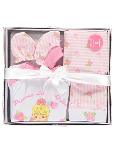 Precious Moments Baby Girls Little Blessings 5-Piece Layette Gift Set - pink - Precious Moments Apparel