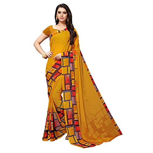 Vaamsi georgette with blouse piece Saree (PC1092_ Yellow_ One Size)