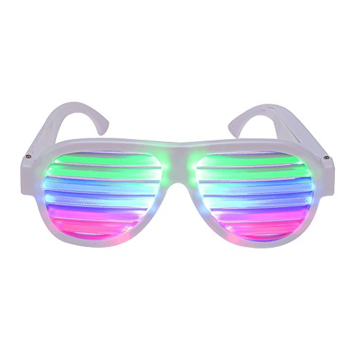 Happy Hours - Multicolor Led Light Up Rechargeable Eyewear for Nightclub Bar Disco Carnival Halloween Party / Sound and Music Active Glasses with USB (Shredder Costume For Adults)