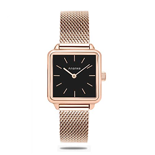 ANANKE Women Rose Gold Stainless Steel Mesh Watches Lady Girls Waterproof Square Aanalog Quartz Wristwatches ()