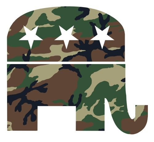- JS Artworks Republican Elephant Camo Camouflage Vinyl Sticker Decal