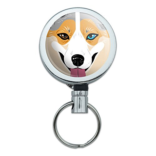 All Metal Retractable Reel ID Badge Key Card Holder with Belt Clip Dog Puppy - Cardigan Welsh Corgi Face Blue Merle ()