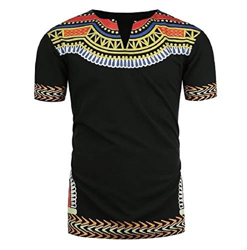 Doufine Men's Short Sleeve Plus Size African Floral V Neck Tops T-shirts Black 2XL by Doufine--men clothes (Image #2)