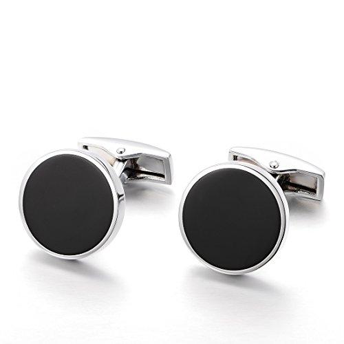 Chinc&show Cufflinks For Mens Black Classic Design Wedding Business With Elegant Storage Display Box (Black Cufflinks Classic)