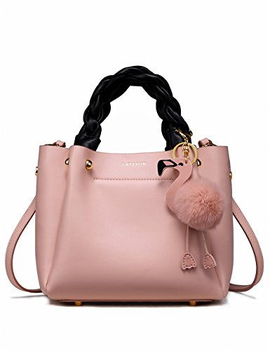 LA'FESTIN Ladies Leather Bucket Handbag with Woven Top Handles Small Cute Flamingo Pink Purse