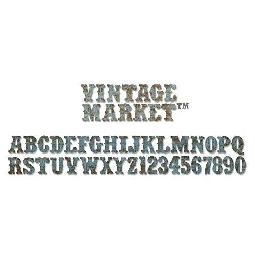 Sizzix Sizzlits Decorative Strip Alphabet Die - Vintage Market by Tim -