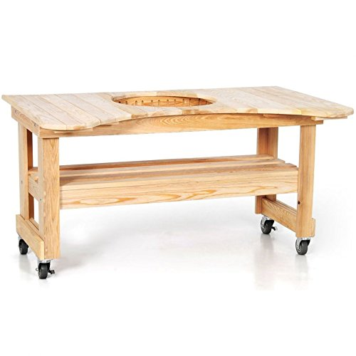 - Primo 601 Cypress Wood Table for Primo Round Kamado Grill, 4 Wheels