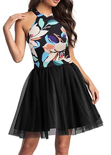 Mmondschein Women Vintage Halter A-line Floral Summer Causal Mini Dress