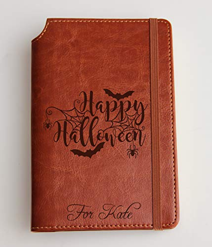 Halloween journal with spider web and bat journal with engraved pumpkin and Custom text or custom quote leather bound, strip with the same color to keep it closed, jotter, scribbling pad, witch ()
