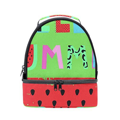 Alinlo Hello Summer Stawberry Pastèque Boîte à lunch Sac isotherme Cooler Tote avec bandoulière réglable pour Pincnic à l'école