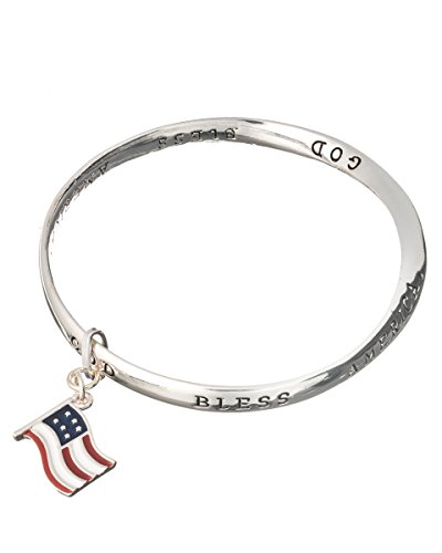 - Jewelry Nexus God Bless America American Flag Charm Twist Bracelet Inspirational Card