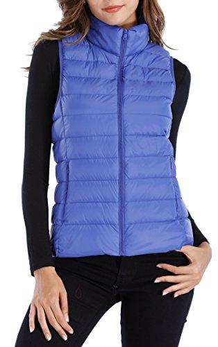 Sarin Mathews Womens Packable Ultra Lightweight Down Vest Outdoor Puffer Vest RoyalBlue S