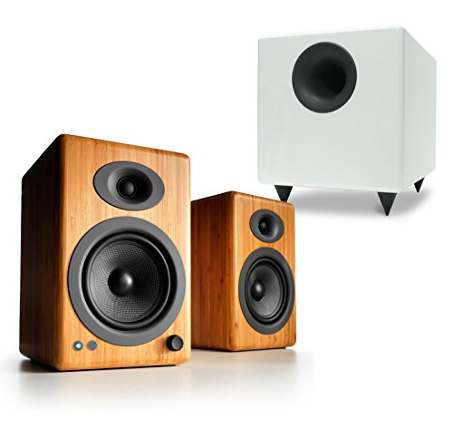 Audioengine A5+ Wireless Powered Speakers (Pair, Bamboo) with Wired S8 Subwoofer (White)