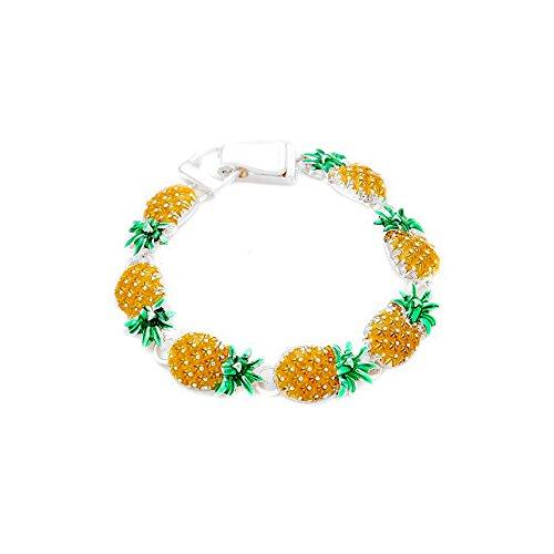 Enameled Silver Pineapple Bracelet [Island Style]