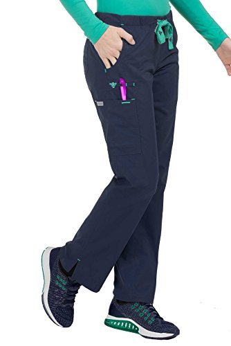 Med Couture Women's Mobility 8723 Drawstring/Elastic Waist Pant- New Navy/Spearmint- Small