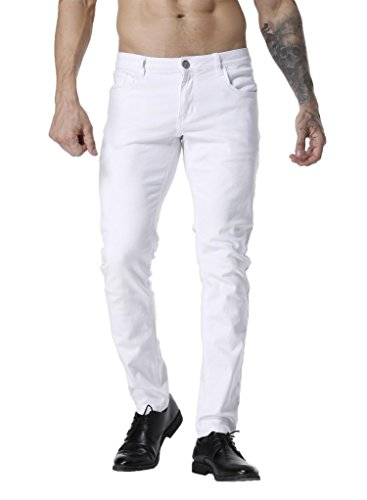 ZLZ Slim Fit Jeans for Men Super Comfy Stretch Skinny Straight Leg Fashion Jeans Pants (31, White)