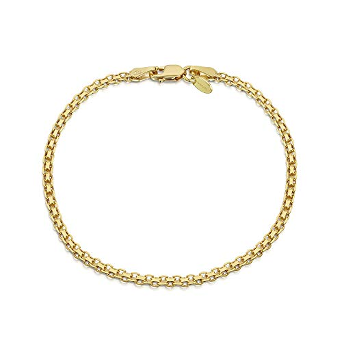 Designer Necklace Bismark - Amberta 18K Gold Plated on 925 Sterling Silver 2.2 mm Bismark Chain Bracelet Length 7.5
