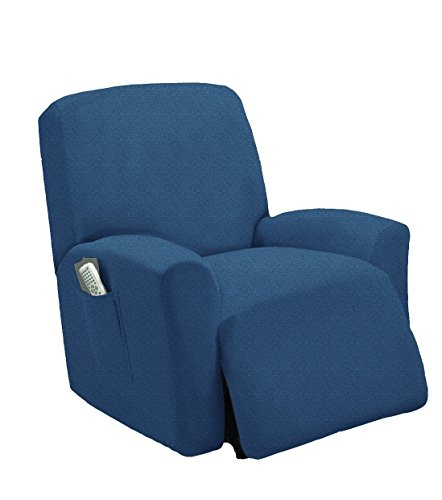 Stretch To Fit One Piece Lazy Boy Chair Recliner Slipcover, Stretch Fit Furniture Chair Recliner Cover With 3 Foam Pieces to Hid Extra Fabric, 4 ELASTIC STRAPS for Cover Stability (Blue)