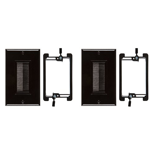 Buyers Point Brush Wall Plate, with Single Gang Low Voltage Mounting Bracket Device (Black Kit) (2, Black Kit)