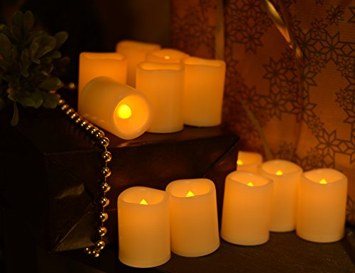 Battery Operated Flickering Flameless Candles – Set of 12 Ivory with Auto – Off Timer Tealight,SWEETIME Votive Led Candles for Weddings and Parties. by Sweetime (Image #3)