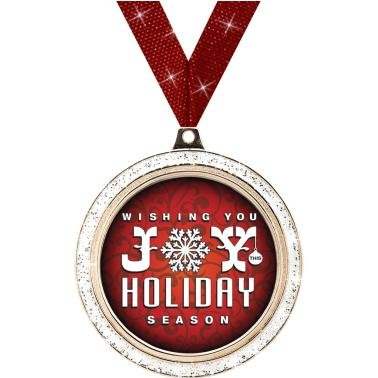 HOLIDAY MEDALS - 2'' Silver Glitter Holiday Joy Medal 50 Pack by Crown Awards
