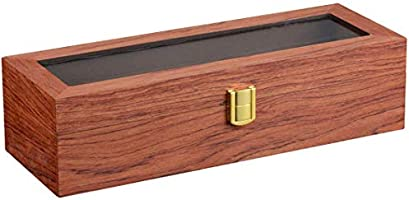 Karamanda Caja de madera para reloj de pintura, 6 ranuras anchas para reloj, caja de almacenamiento de madera de pera, organizador de reloj, regalo para hombre, negocios, caja de almacenamiento de joyas,