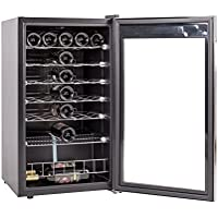 SMETA 35 Bottles Freestanding Wine Cellar Compressor Wine Cabinet Beverage Wine Cooler,Stainless Steel