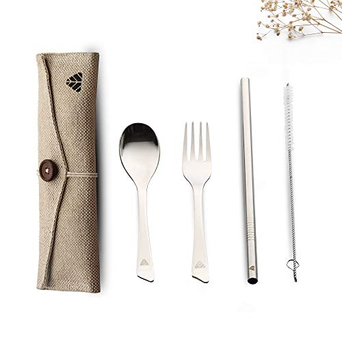 Rusabl (Earlier Minimo) Steelery Reusable Stainless Steel Cutlery Set. Ideal for Daily use, Gifting and Traveling (Contains : Spoon, Fork,Straw and Cleaner, Napkin, Jute Pouch) (Beige, Spoon + Fork) Price & Reviews