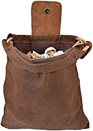 VELIHOME Bush Craft Waist Bag for Men,Canvas Belt Pouch with Leather Cover & Buckle Foldable Heavy Duty To
