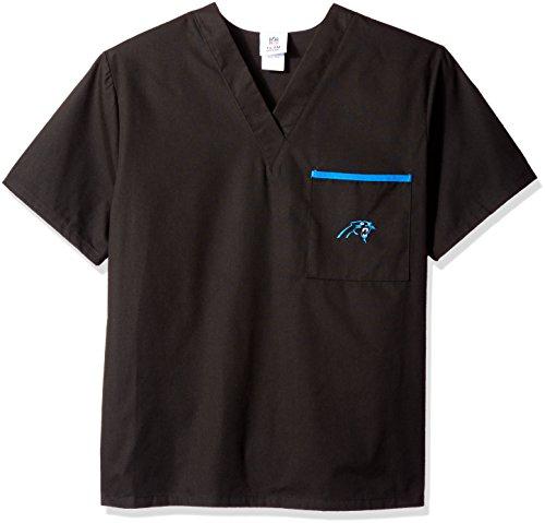 NFL Carolina Panthers Scrub Dudz Solid Scrub Top, Unisex, Large, Black