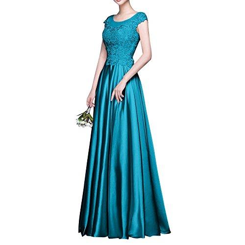 Brautmutterkleider Blau Lang 2018 Kurzarm La Brau Partykleider Abschlussballkleider Spitze Promkleider Abendkleider mia Tq1zvwH