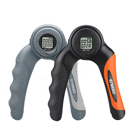 Enkeeo Digital Hand Grip Strengthener with Counter 22lbs/10kg Count Timer and Calorie Modes Hand Gripper Exerciser with Non Slip Handle for Increasing Hand Wrist Finger Forearm Strength