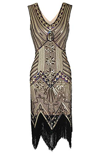 Robert Reyna Nice Women's Flapper DressVintage 1920s V Neck Beaded Fringed Lace Tassels Hem Flapper Dress,XXXX-Large,C-crackerKhaki